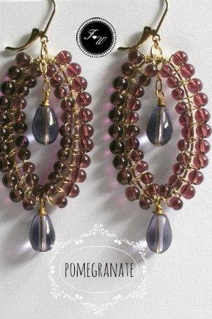 chandelier earring/handmade earring/pomegranate earrings