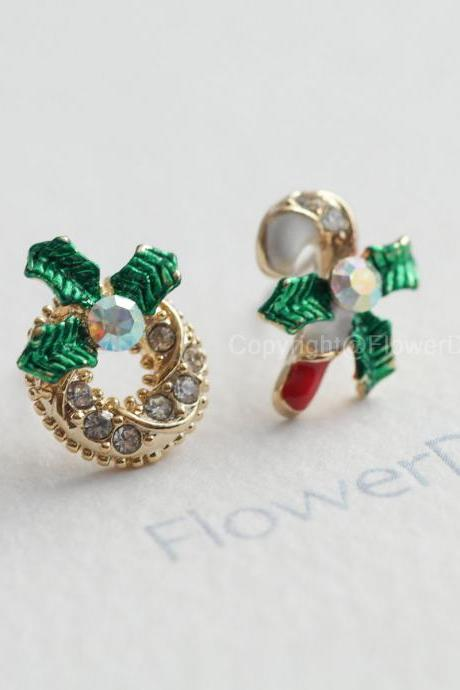 Christmas Wreath Crystal earrings Stud Earrings/Christmas/Gift
