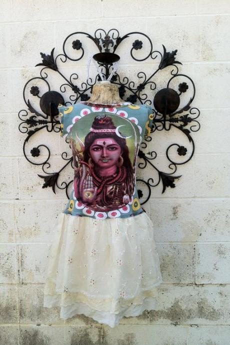 Hare Krishna Lord Shiva Wearable Art Funky Eco Upcycled Dress