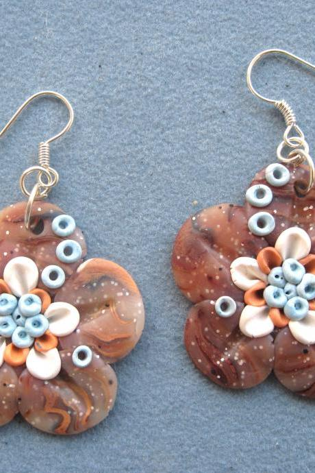Flowers Earrings Polymer Clay Unique handmade - Fimo - OOAK