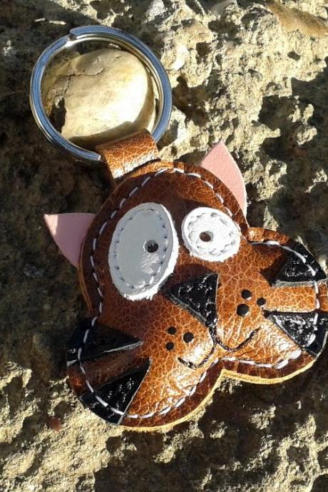 Tommy The Cat Leather Animal Keychain Handmade