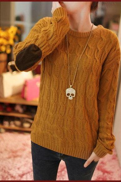 New fashion Patch Knit Pullover Sweater