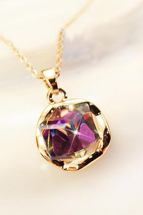 Vintage Shiny Rhinestone Gradient Purple Necklace