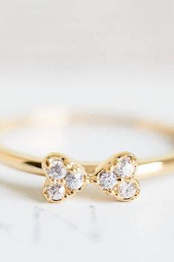 cute cubic ribbon knuckle ring,stacked ring,stackable ring,stacking ring,knuckle rins,mid ring,pinky ring,cubic zirconia ring,R185N