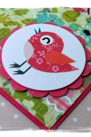 Little Bird Chirping Happy Birthday Handmade Card