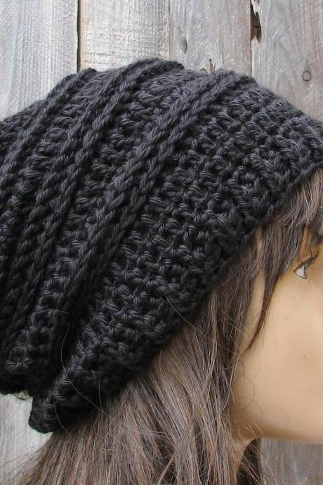 Crochet Hat - Slouchy Hat in Black - Winter Accessories Autumn Accessories Fall Fashion