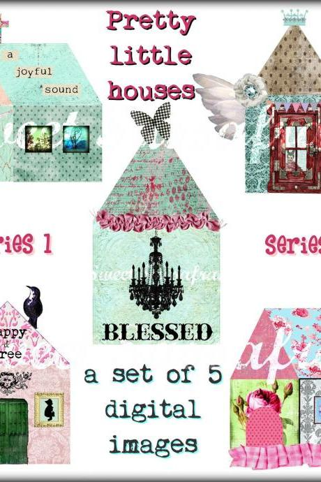 Digital Collage Clip Art - Pretty Little Houses....Series 1.....