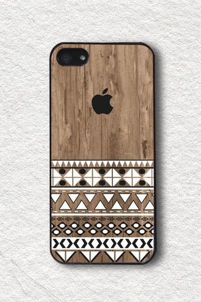 iPhone 4 Case, iPhone 4s Case, iPhone 5 Case, iPhone 5s Case, Protective iPhone Cover - Black and White Geometric on Wood