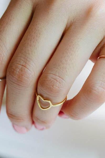open heart knuckle ring,heart ring,knuckle ring, pinky ring, jewelry ring, heart shape ring,open heart ring,R003N