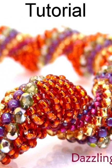 Beading Tutorial Pattern Bracelet Necklace - Dutch Spiral Stitch - Simple Bead Patterns - Dazzling Dragon #3091