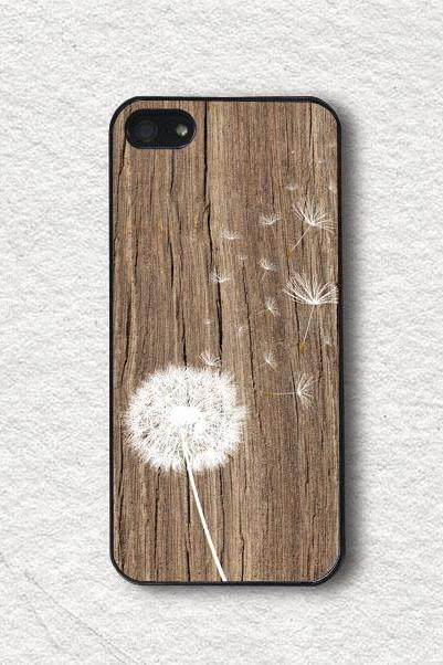 iPhone 4 Case, iPhone 4s Case, iPhone 5 Case, iPhone 5s Case, Protective iPhone Cover - White Dandelion on Wood