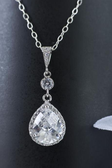 Bridal Necklace, Bridal Jewelry, Cubic Zirconia Teardrop Bridal Necklace, Wedding Jewelry, Bride Bridesmaids Necklace