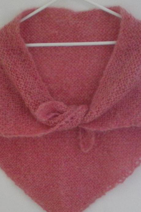Pink triangular scarf