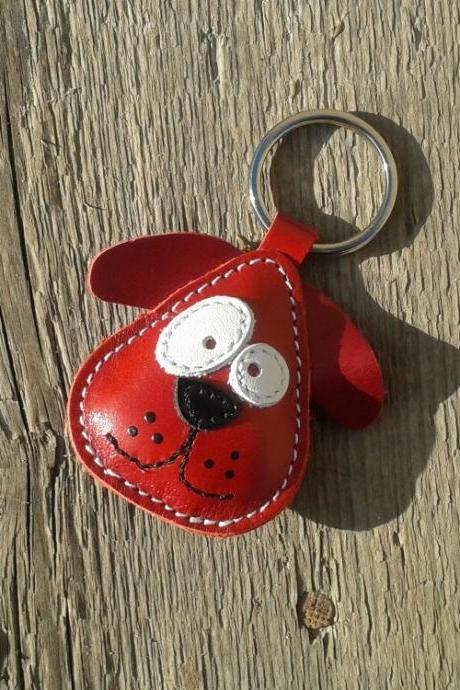 Handmade Red Dog Chowder Leather Keychain