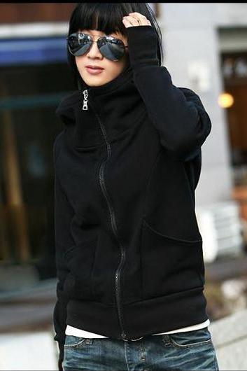 Korean Stylish Fleece Inside Hooded Coat With Pockets - Black