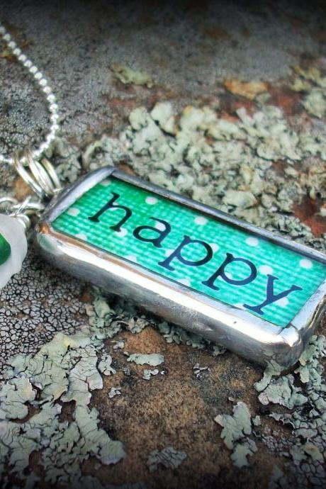 Happy Mom Soldered Glass Pendant Necklace with rhinestones and beads....