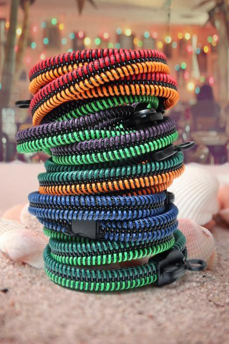 2 colorful bracelets, zipper jewelry, metal new steampunk style bracelets - party by the bay collection.