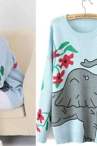 Fashion Embroidered Elephant Printed Cute Sweater&Cardigan
