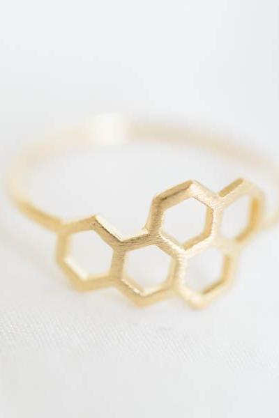 royal jelly ring,Jewelry ,Ring,hexagon,hexagonal ring,geometric,modern,royal jelly,minimalist,5 hexagon ring,tiny hexagon,unique ring ,R232N