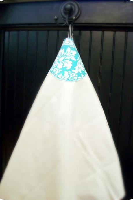 SALE Turqoise and white Damask fabric flour sack towel with hanging loop...PERFECT hostess gift....