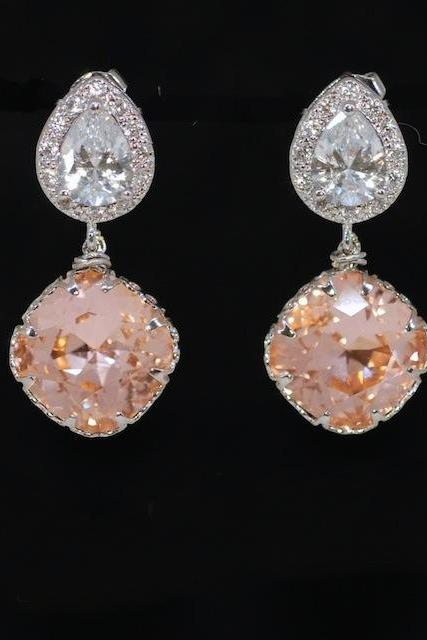 Wedding Earrings, Bridesmaid Earrings, Cubic Zirconia Teardrop Earring with Swarovski Light Peach Crystal - Wedding Jewelry, Bridal Earrings, Bridesmaid MOH Gift (E509)