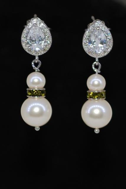 Wedding Earrings, Bridesmaid Earrings, Bridal Jewelry - Cubic Zirconia (cz) Teardrop Earring, Olivine Rondelle, Swarovski Cream Pearl (E596)