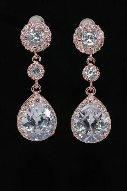 Rose Gold Plated Cubic Zirconia Round Earring, Small Round CZ and CZ Teardrop - Wedding Earrings, Bridesmaid Earrings, Bridal Jewelry (E598)