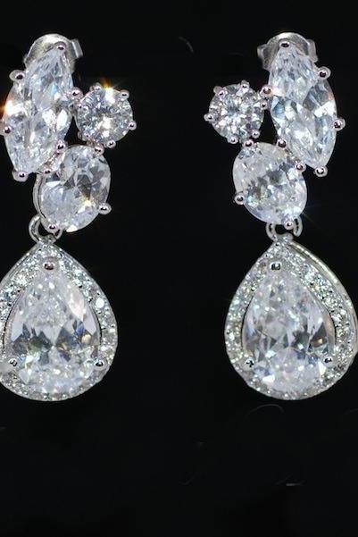Multiple CZ Earrings with Teardrop Cubic Zirconia surrounded by small CZ - Wedding Earrings, Bridesmaid Earrings, Bridal Jewelry (E535)