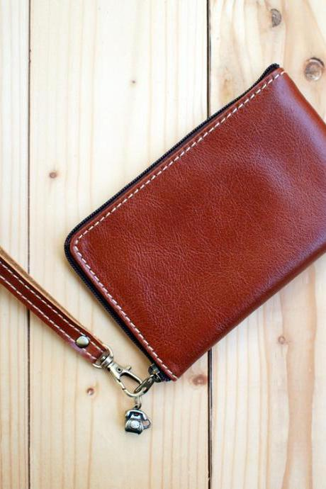 Leather Phone Bag, Slim type, Hand Strap, Chocolate Brown