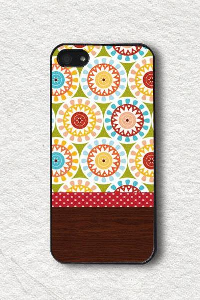 Apple iphone Cases, iphone 4 Case, iphone 4s Case, iphone 5 Case, iphone 5s Case, Protective iphone Cover - Geometric Floral with Wood