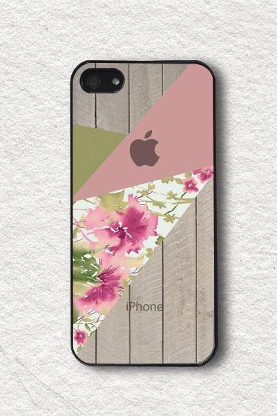 Pink Floral Blocks with Wood - iphone 4 Case, iphone 4s Case, iphone 5 Case, iphone 5s Case, Wood iphone Case, Wood iphone Covers