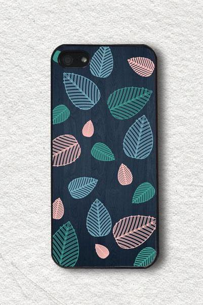 Cell Phone Case Cover for iphone 4, iphone 4s, iphone 5, iphone 5s, iphone Cover, Protecive iphone case - Pastel Leaf with Wood