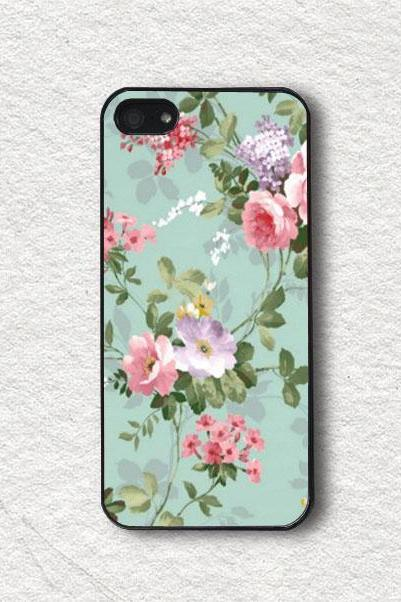 Cell Phone Case Cover for iphone 4, iphone 4s, iphone 5, iphone 5s, iphone Cover, Protecive iphone case - Vintage Pastel Flowers