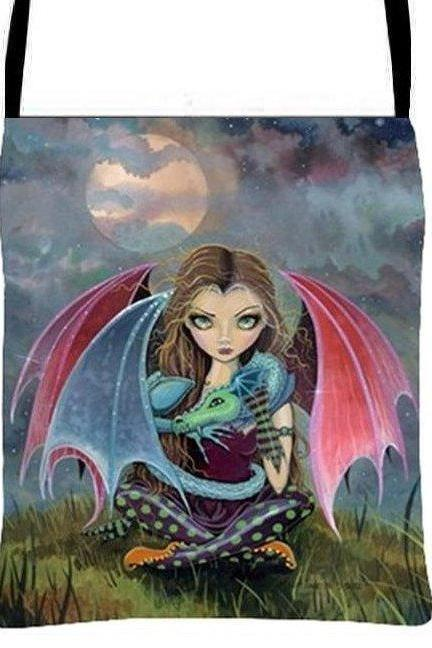 Fairy and Dragon Between Flights Cross Body Essentials Handbag Fantasy Art Purse, Molly Harrison Artwork
