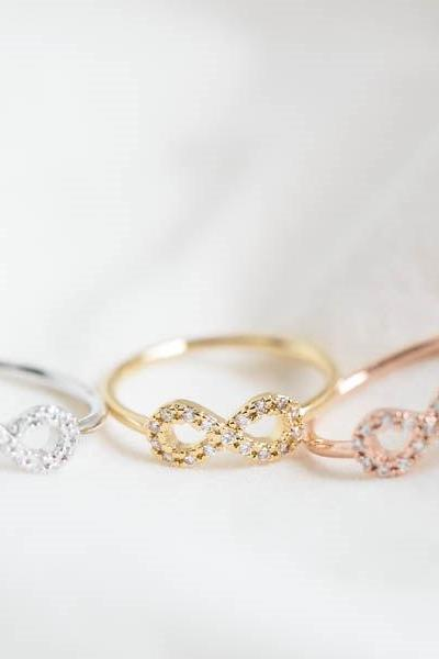 mini infinite cz knuckle ring,infinity pinky ring,wedding ring,wedding jewelry,bridesmaids ring,bridesmaid gift,cubic zirconia ring,R178N