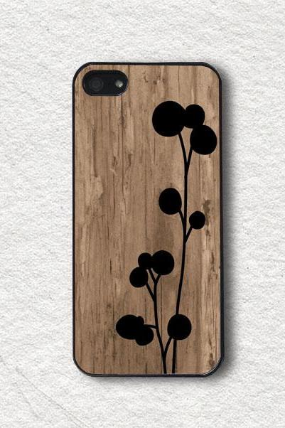 Phone Cases for iphone 4, iphone 4s, iphone 5, iphone 5s, iphone Cover, Protecive iphone case - Black Floral on Wood