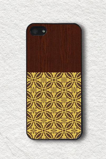 iphone Case for iphone 4, iphone 4s, iphone 5, iphone 5s, iphone Cover, Protecive iphone case - Champagne Floral Pattern with Wood