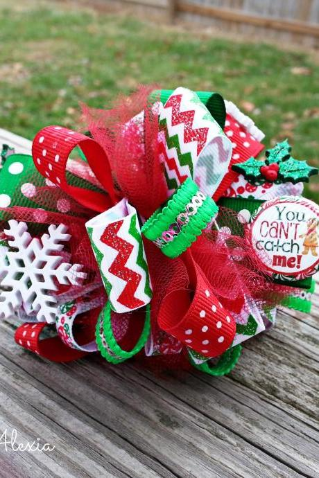 Christmas Gingerbread Loopy Hair Bow