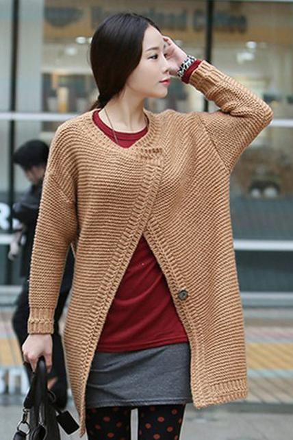 High Quality Long Style Woman Button Closure Unicilor Sweater Coat