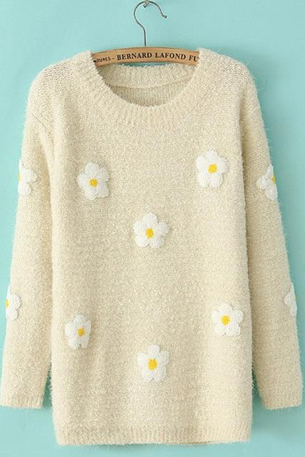 Tiny Flowers Print Long Sleeve Pullovers Sweater - Beige