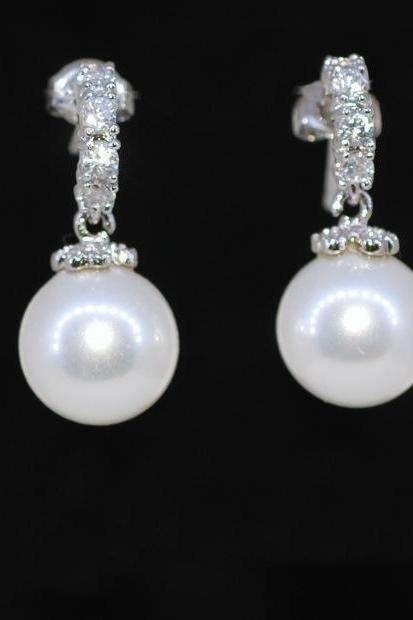 Wedding Earrings, Bridesmaid Earrings, Bridal Jewelry - Cubic Zirconia C Shape Earring With Shell Based White Round Pearl (E395)