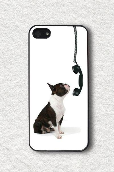 iphone Case for iphone 4, iphone 4s, iphone 5, iphone 5s, iphone Cover, Protecive iphone case - Dog and Phone