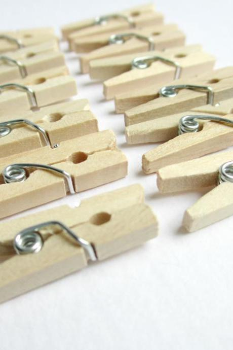 25 Mini Clothespins, Miniature Clothespins, Mini Clothes Clips, Mini Laundry Clips