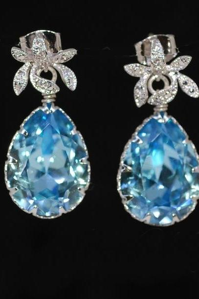 Cubic Zirconia Detailed Orchid Earring with Swarovski Aquamarine Teardrop - Wedding Jewelry, Bride Earrings, Bridesmaid MOH Gift (E154)