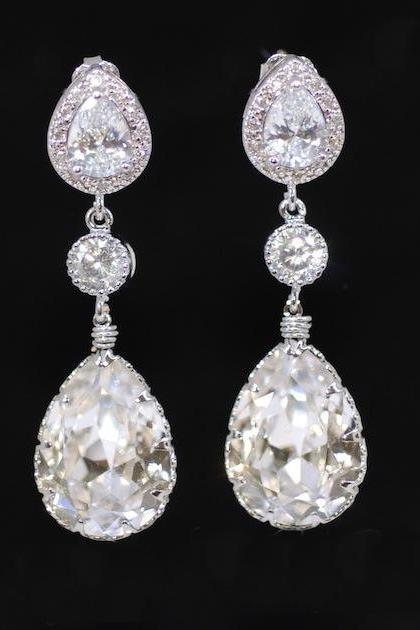 Wedding Earrings, Bridesmaid Earrings, Cubic Zirconia Teardrop Earring with Round Cubic Zirconia and Swarovski Clear Teardrop Crystal (E289)