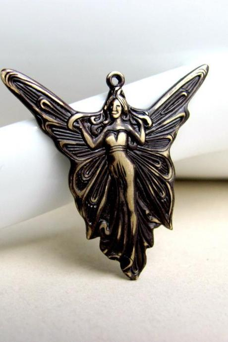 Hand Patina Angel Pendant, Angel Pendant, Patina Pendant
