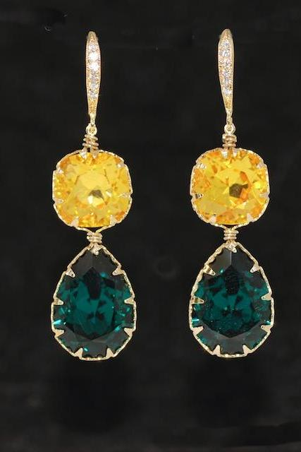 Wedding Earrings, Bridesmaid Earrings, Swarovski Square Cushion Cut Light Topaz, Emerald Green Teardrop Crystal with Gold Plated CZ Detailed Sterling Silver Earring Hook (E591)