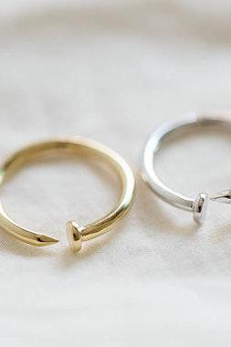 middle size bent nail ring,adjustable ring,gold nail ring,bridal jewelry,bridesmaid jewelry,wedding jewelry,bridesmaid gift,R089N
