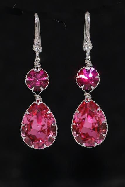 Cubic Zirconia Detailed Earring Hook with Swarovski Round Fuchsia, Rose Teardrop Crystals - Wedding Jewelry, Bridal Earrings (E570)