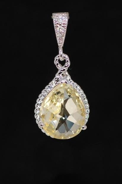 Wedding Jewelry, Pendant Necklace, White Gold Plated Cubic Zirconia Detailed Bail with Jonquil Glass Quartz Pendant (P031)